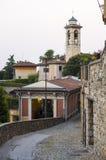 在贝加莫老镇的缆索铁路的驻地  意大利 免版税库存图片