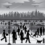 在活动中的城市居民 免版税库存图片