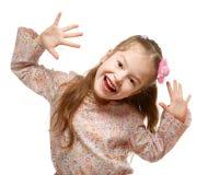 在活动中的小女孩。快乐,正面。 库存照片