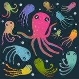 在黑动画片夹子隔绝的五颜六色的章鱼 皇族释放例证