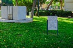 在直升机失事死的战士的纪念品,海法 免版税库存图片
