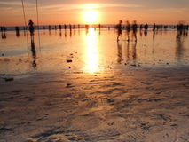 在巴厘岛的金黄日落 免版税库存照片