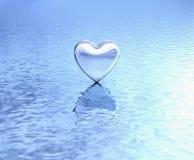 在水反射的纯净的心脏 库存照片