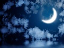 在水反映的明亮的月亮 库存例证