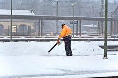 在总台的冬天维护在威斯巴登,德国 免版税库存图片