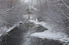 在以后的冬天小河新降雪 免版税库存照片