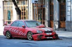 在洪水以后的卢克石油汽车 免版税图库摄影