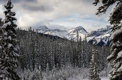 在以后的山降雪 库存照片