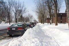 在以后的街道降雪 库存照片