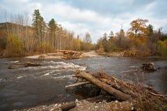 在洪水以后的被毁坏的路桥梁在遥远的区域 免版税库存图片