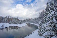 在以后的麦克唐纳小河新降雪 图库摄影