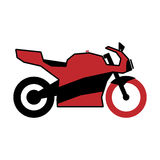 在黑和红色的一辆简单的商标摩托车 库存图片