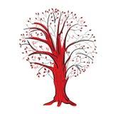 在黑和红颜色的抽象树 免版税库存照片
