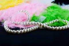 在黑织品的白色项链位置在色的羽毛堆  免版税库存照片