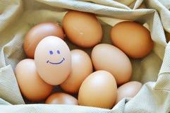 在织品袋子的微笑棕色鸡蛋 免版税库存照片