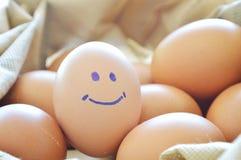 在织品袋子的微笑的棕色鸡蛋 库存图片