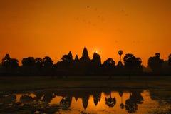 在吴哥窟世界遗产名录,暹粒,柬埔寨的日出 免版税库存图片
