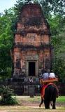 在吴哥窟寺庙废墟的大象 免版税库存照片