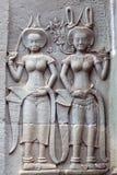 在吴哥窟寺庙,柬埔寨的古老安心 免版税库存照片