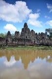 在吴哥窟,暹粒,柬埔寨的古老Bayon寺庙 免版税库存图片
