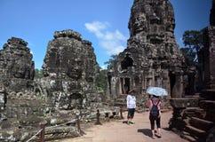 在吴哥窟,柬埔寨的Bayon寺庙 免版税库存图片
