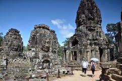 在吴哥窟,柬埔寨的Bayon寺庙 库存照片