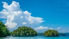 在巴图利马,生物多样性手段, Gam海岛, Doberai Eco在背景中, Urai,西部Papuan,王侯Ampat附近的绿色岩石 免版税图库摄影