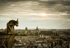 在巴黎圣母院大教堂的面貌古怪的人  免版税库存照片