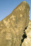 在刻在岩石上的文字国家历史文物的美国本地人刻在岩石上的文字,在亚伯科基之外,新墨西哥 库存图片