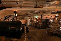 在1765年在特拉法尔加角战役介入的HMS胜利著名军舰由纳尔逊阁下海军上将指挥了 免版税库存照片