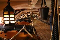在1765年在特拉法尔加角战役介入的HMS胜利著名军舰由纳尔逊阁下海军上将指挥了 免版税库存图片
