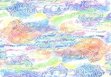 在织地不很细纸-抽象backround的五颜六色的水彩 库存图片