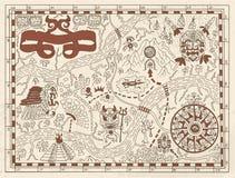 在织地不很细背景的老玛雅人或海盗地图 皇族释放例证