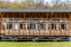在驻地的历史的无盖货车在Seebad Heringsdorf 库存照片