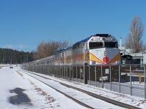 在驻地的大峡谷铁路火车 库存图片