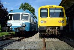 在驻地的火车 免版税库存照片