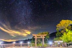 在围场` Linh Qui Phap的不可思议的夜场面`塔 免版税库存照片