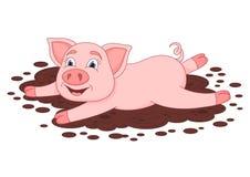 在水坑,滑稽的贪心谎言和微笑的逗人喜爱的猪 库存照片