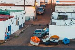 在费埃特文图拉岛海岛,西班牙上的小渔村Ajuy 库存照片