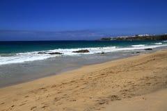 在费埃特文图拉岛的风景图El Cotillo海滩, 库存图片