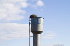 在水塔顶部的鹳的巢 库存照片