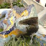 由公园Guell的龙。 巴塞罗那。 库存照片