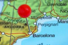 在巴塞罗那地图的Pin  库存图片