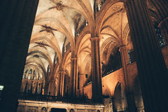 在巴塞罗那大教堂里面,西班牙 免版税库存图片