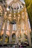 在巴塞罗那大教堂里面 库存图片