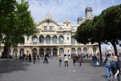在巴塞罗那,西班牙港的大厦  免版税库存图片