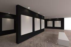 在黑墙壁上的帆布在画廊 库存照片