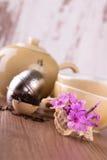 在贝壳的少量桃红色康乃馨在茶具前面 免版税库存图片