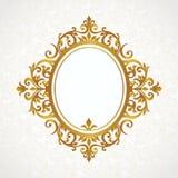 在维多利亚女王时代的样式的传染媒介装饰框架 免版税库存图片