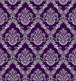 在维多利亚女王时代的样式的无缝的锦缎墙纸设计的 免版税库存照片